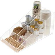 OnDisplay Java Joe Acrylic Breakroom.Kitchen Coffee Station Organizer for Cups/Lids/Sugar/Tea/Stirrers