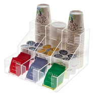 OnDisplay Acrylic Break Room Coffee Station Organizer for Cups/Lids/Sugar/Coffee Pods/Tea and more