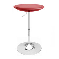 Set of 4 Alpha Contemporary Bombo Style Adjustable Height Bar Pub Tables - Molded ABS Belly Table - Polished Chrome Steel Base with Floor Protecting Rubber Ring (Cabernet Red)
