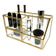 OnDisplay Penelope Deluxe Glass/Golden Steel Cosmetic/Desktop Organization Station - Perfect for Vanity, Bathroom, Office, or Desktop - Classic Versatile Organizer