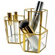 OnDisplay Phoebe 3 Section Hexagon Deluxe Glass/Golden Steel Cosmetic/Desktop Organizer - Perfect for Vanity, Bathroom, Office, or Desktop - Classic Versatile Organizer