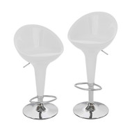 Set of 2 Beta Contemporary Bombo Style Adjustable Height Barstool - ABS Molded Bar Chair - Polished Chrome Steel Base with Floor Protecting Rubber Ring (Vanilla White)