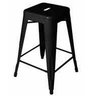 "Set of 2 Ajax 24"" Contemporary Steel Tolix-Style Barstool - Black"