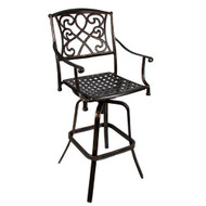 Wilshire Rotating Cast Aluminum Outdoor Chair/Bar Stool with Cushion