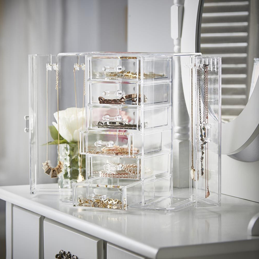 Ondisplay Acrylic Jewelry Cabinet Organizer 6 Drawer Tiered Design Perfect For Vanity Bathroom Counter Or Dresser Vandue
