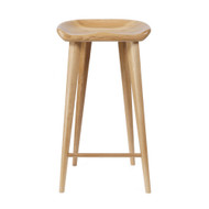 Set of 4 Tractor Contemporary Carved Wood Barstool - Natural Finish