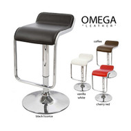 "Set of 4 Omega ""Leather"" Contemporary Adjustable Barstool - Black Licorice"