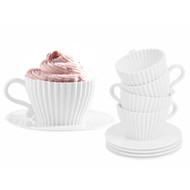 Cupcake Tea Set - 4 Silicone Cupcake Pans with Saucers