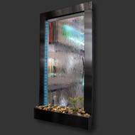 Modern Home Black Aluminum Wall Waterfall Fountain w/Mirror Inset - Indoor/Outdoor WWB1