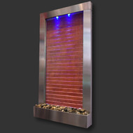 Modern Home Stainless Steel Wall Waterfall Fountain w/Wood Inset - Indoor/Outdoor