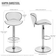 Set of 2 Kappa Contemporary Adjustable Barstool - Coffee