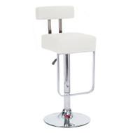 Set of 4 Modern Home Blok Contemporary Adjustable Height Bar/Counter Stool - Chrome Base/Footrest Barstool (Vanilla White)