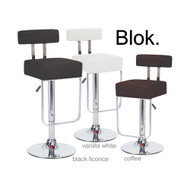 Set of 4 Blok Contemporary Adjustable Barstool - Vanilla White