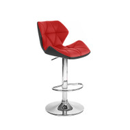Set of 2 Modern Home Spyder Contemporary Adjustable Barstool - Comfortable Adjusting Height Counter/Bar Stool (Black/Red)