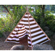 Modern Home Children's Indoor/Outdoor Teepee Set with Travel Case - Brown/Silver Stripes