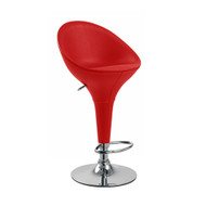 Set of 2 Beta Faux Leather Contemporary Bombo Style Adjustable Height Barstool - Polished Chrome Steel Base with Floor Protecting Rubber Ring (Cherry Red)