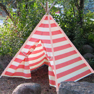 Modern Home Children's Indoor/Outdoor Teepee Set with Travel Case - Pink Stripes