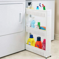 Modern Home Narrow Sliding Storage Organizer Rack - Laundry/Bathroom/Kitchen Portable Storage Shelves