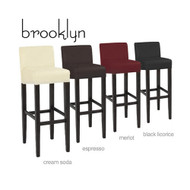 Set of 4 Brooklyn Contemporary Wood/Faux Leather Barstool - Black Licorice