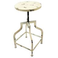 Set of 2 Bristol Retro Steel Rotating Adjustable Height Barstool - Vintage Cream