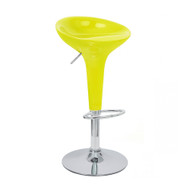 Set of 4 Alpha Contemporary Bombo Style Adjustable Height Barstools - ABS Molded Bar Chair - Polished Chrome Steel Base with Floor Protecting Rubber Ring (Banana Yellow)