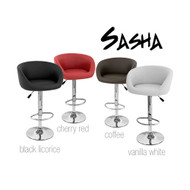 Set of 2 Sasha Contemporary Adjustable Barstool - Vanilla White