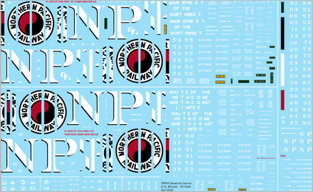 Complete Decals for Cannon & Co. NP Boxcars