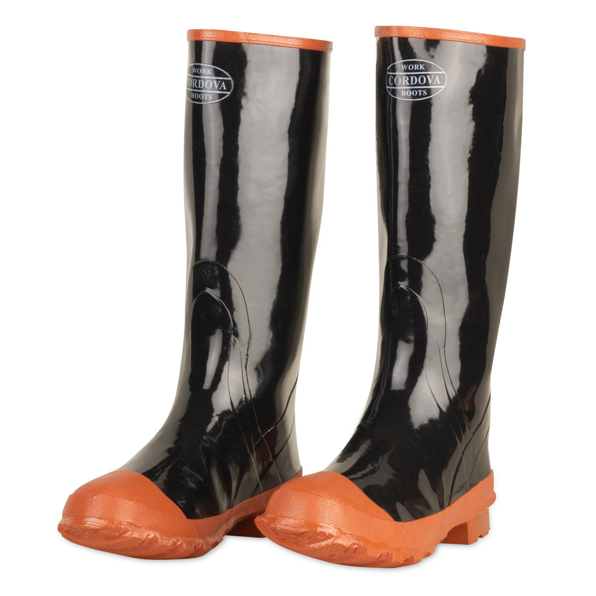 san francisco ce75e 72446 Rubber Boots, Plain Toe, Cotton Lined, Black w/Brick Red Ribbed Soles,  16-Inch Length (Pair)