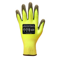 Cordova Monarch™ PU™ HI-VIS Green TAEKI5® Gloves, 13-Gauge, Polyurethane Coating, Cut Level 3 (Pair)