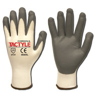 Cordova TACTYLE™ Nitrile Coated Machine Knit Gloves, 13-Gauge, White/Gray (Dozen)