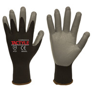 Cordova TACTYLE™ Nitrile Coated Machine Knit Gloves, 13-Gauge, Black/Gray (Dozen)