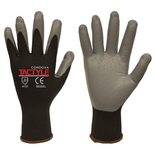 Cordova TACTYLE™ Nitrile Coated Machine Knit Gloves, 13-Gauge, Black/Gray (Dozen)