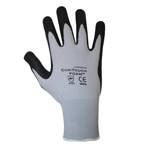 Cordova COR-TOUCH FOAM™ Nitrile Coated Machine Knit Gloves, 13-Gauge, Black/Gray, Microfoam Coating (Dozen)