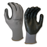 Cordova CONQUEST PLUS™ Nitrile Coated Machine Knit Gloves, Black Nitrile Dots (Dozen)