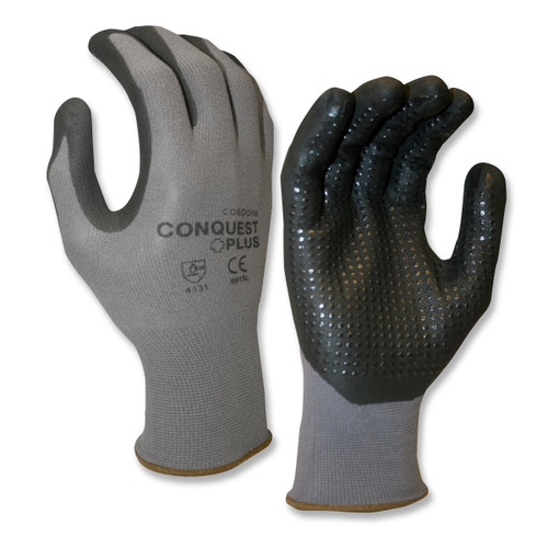 Cordova CONQUEST PLUS™ Nitrile Coated Machine Knit Gloves, Black Nitrile Dots (Dozen)