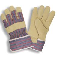 Cordova Split Pigskin Leather Gloves, Canvas Back, Gunn Cut, Starched Safety Cuff (Dozen)