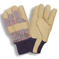 Cordova Grain Pigskin Leather Gloves, Thinsulate® Lined, Gunn Cut, Blue Knit Wrist (Dozen)
