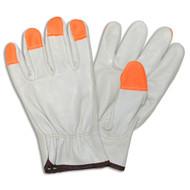 Cordova Pigskin Leather Drivers Gloves, Unlined, Hi-Vis Orange Fingertips, Keystone Thumb (Dozen)