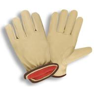 Cordova Standard Pigskin Leather Drivers Gloves, White Fleece Lined, Elastic Back, Keystone Thumb (Dozen)