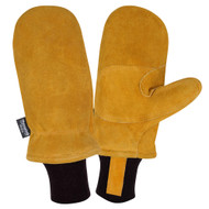 Cordova FREEZEBEATER® Side Split Cowhide Leather Mittens, C150 Thinsulate® Lined, Knit Wrist, Russet (Pair)