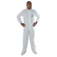 DEFENDER II White Microporous Coverall w/Hood & Boots (Case of 25) (MP400)