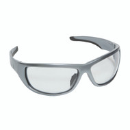 AGGRESSOR Safety Glasses, E03S10, Silver Frame with Clear Lens, TPR Nose & Temples (Dozen)