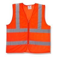 Class II Lime Mesh Vest, Zipper Closure, Orange