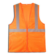 Class II Mesh Vest, Zipper Closure, Orange