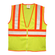 Class II Mesh Vest, Zipper Closure, Two-Tone Trim, Lime