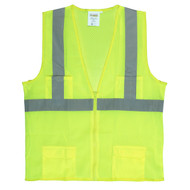 Class II Mesh Surveyors Vest, Zipper Closure, Lime