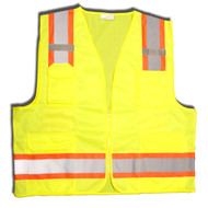 Class II Surveyors Vest, Two-Tone Trim, Lime