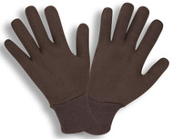 Brown 2-Piece Jersey Gloves, Knit Wrist, Ladies ( 3 Dozen)