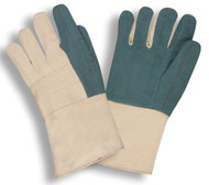 Heavyweight Hot Mill Gloves, Green, Gauntlet Cuff (Dozen)