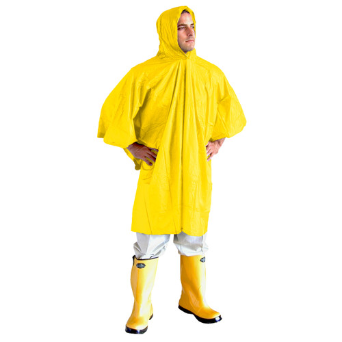 Cordova VALUE-LINE PVC Rain Poncho, Attached Hood and Drawstring, .10mm, Yellow